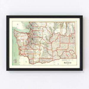 Vintage Map of Washington 1909