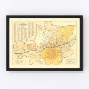 Vintage Map of Sarajevo, Bosnia 1932