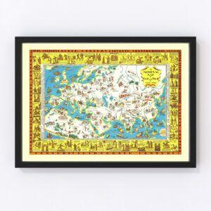 Vintage Medieval Map of East & West 1925