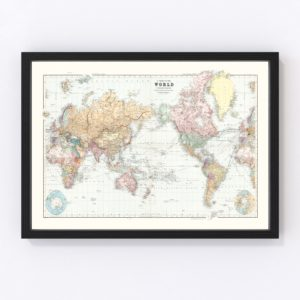 Vintage World Map 1904