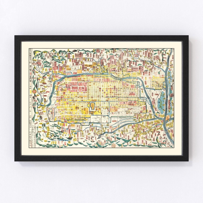 Vintage Map of Kyoto, Japan 1863