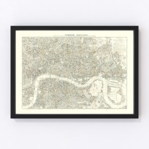 Vintage Map of London, England 1903