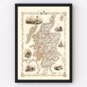 Vintage Map of Scotland 1851