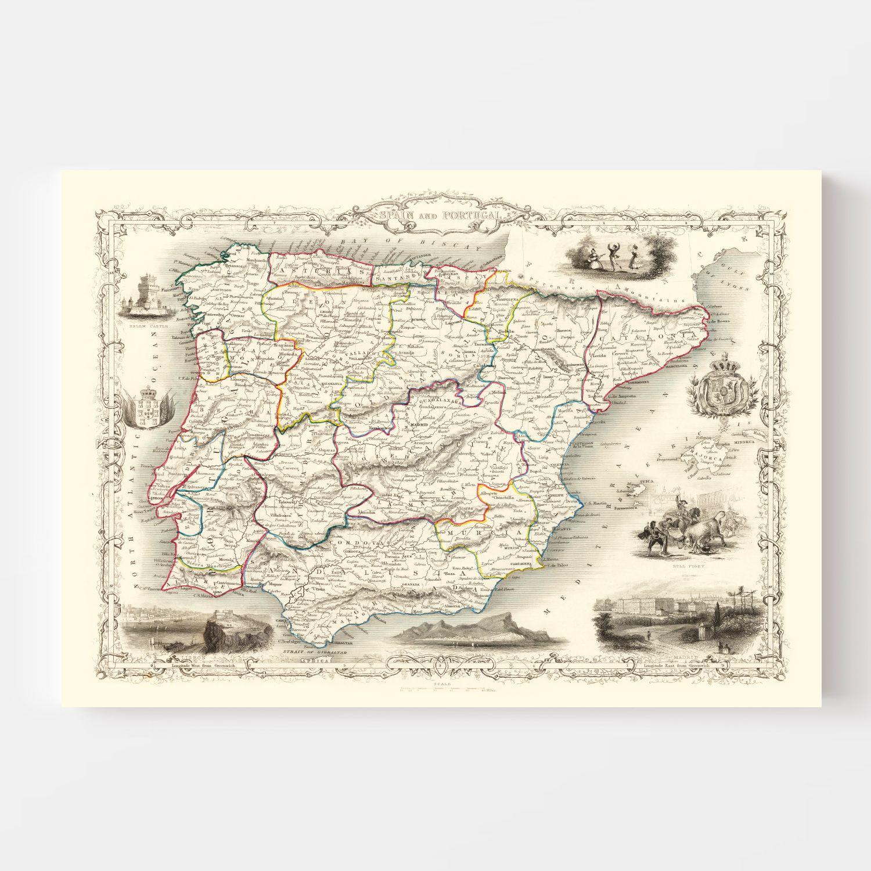 Vintage Map of Portugal & Spain 1851
