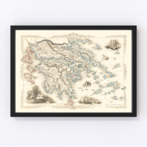 Vintage Map of Greece 1851