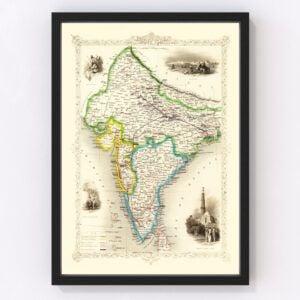 Vintage Map of British India 1851