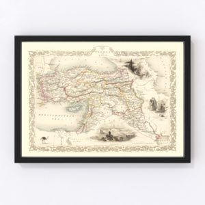 Vintage Map of Turkey in Asia 1851