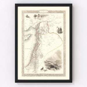 Vintage Map of Syria 1851