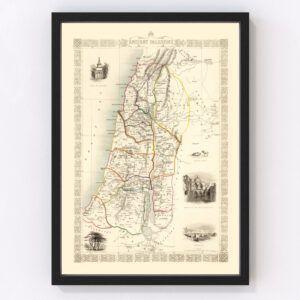 Vintage Map of Ancient Palestine 1851