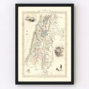 Vintage Map of Modern Palestine 1851