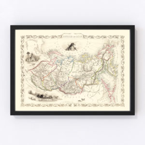 Vintage Map of Russia in Asia 1851