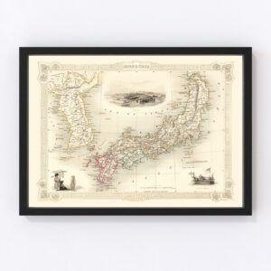 Vintage Map of Japan & Korea 1851