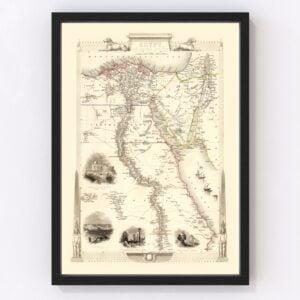 Vintage Map of Egypt & Saudi Arabia 1851