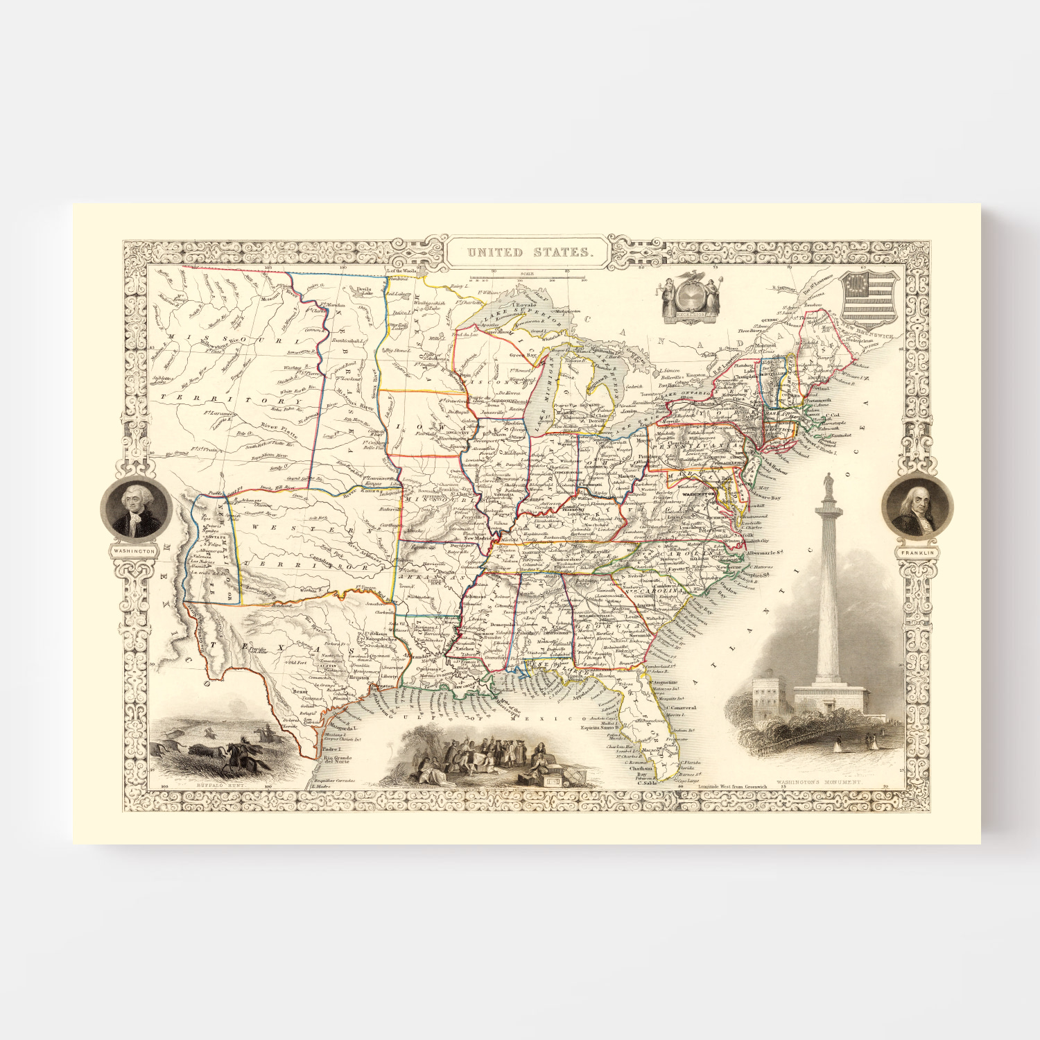 Vintage Map of United States 1851