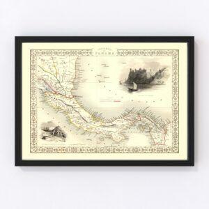 Vintage Map of Panama 1851