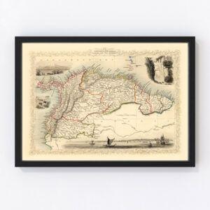 Vintage Map of Venezuela, New Granada, Ecuador & the Guayanas 1851