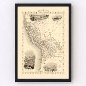 Vintage Map of Peru & Bolivia 1851