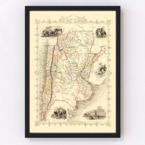 Vintage Map of Chile & La Plata 1851