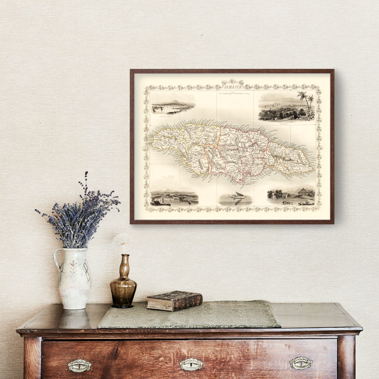 Vintage Map of Jamaica 1851