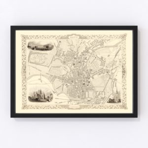 Vintage Map of Bath, United Kingdom 1851