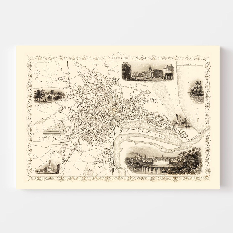 Vintage Map of Aberdeen, Scotland 1851