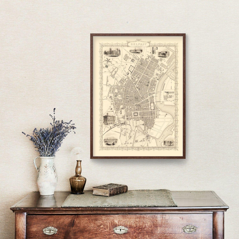 Vintage Map of Belfast, United Kingdom 1851