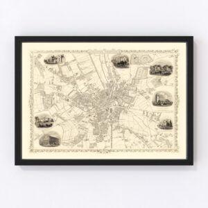 Vintage Map of Bradford & Yorkshire, United Kingdom 1851