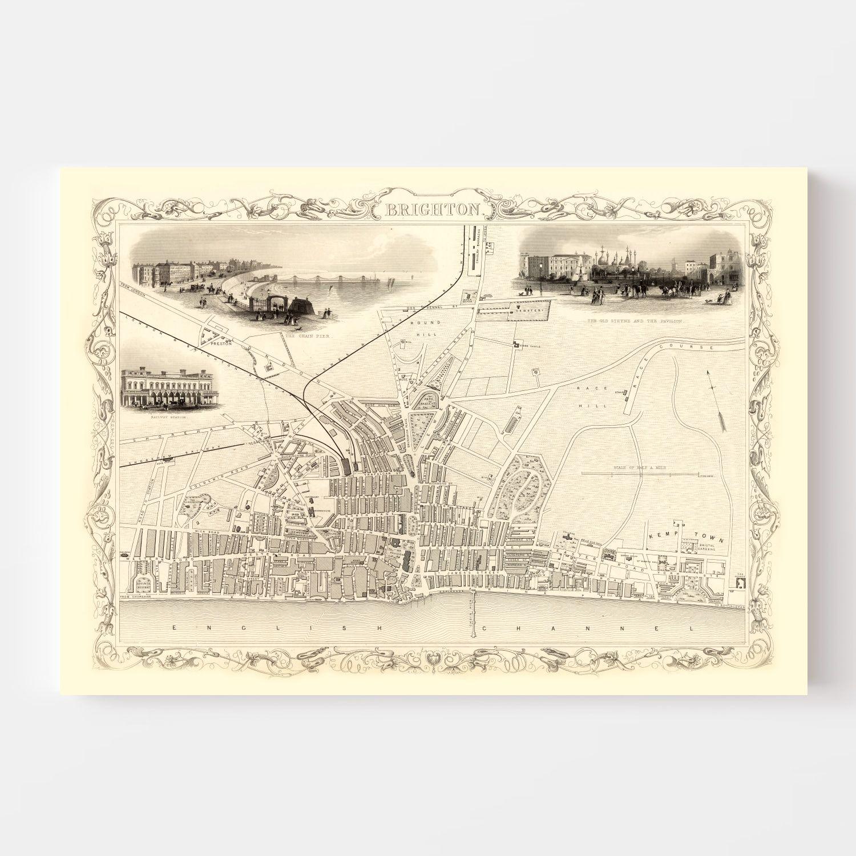Vintage Map of Brighton, United Kingdom 1851