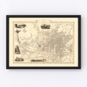 Vintage Map of Bristol & Clifton, United Kingdom 1851