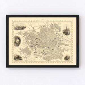 Vintage Map of Brussels, Belgium 1851
