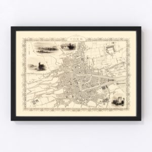 Vintage Map of Cork, Ireland 1851