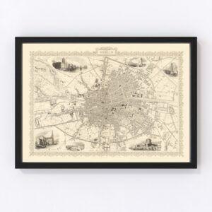 Vintage Map of Dublin, Ireland 1851