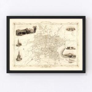 Vintage Map of Edinburgh, Scotland 1851