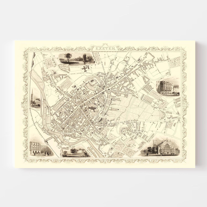 Vintage Map of Exeter, United Kingdom 1851