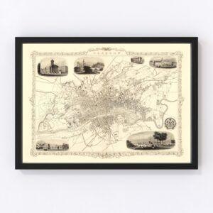 Vintage Map of Glasgow, Scotland 1851