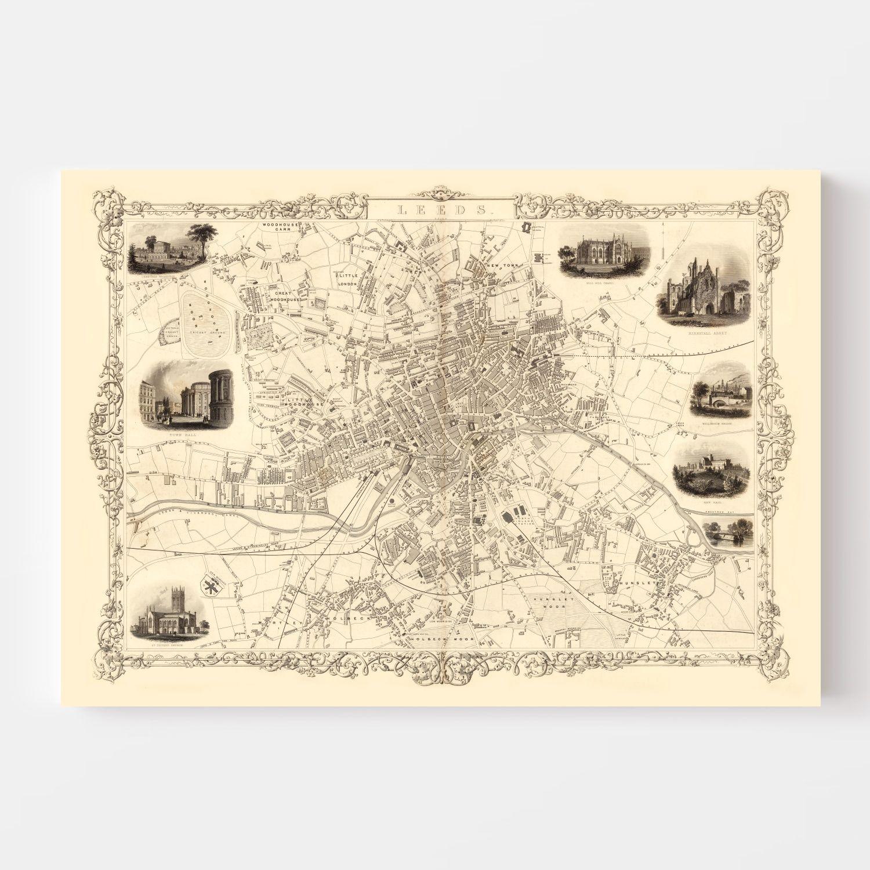 Vintage Map of Leeds, United Kingdom 1851