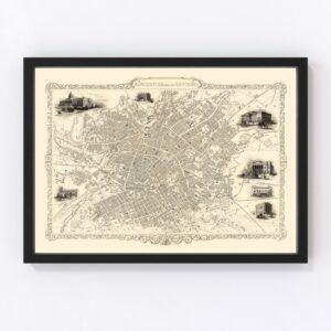 Vintage Map of Manchester, United Kingdom 1851