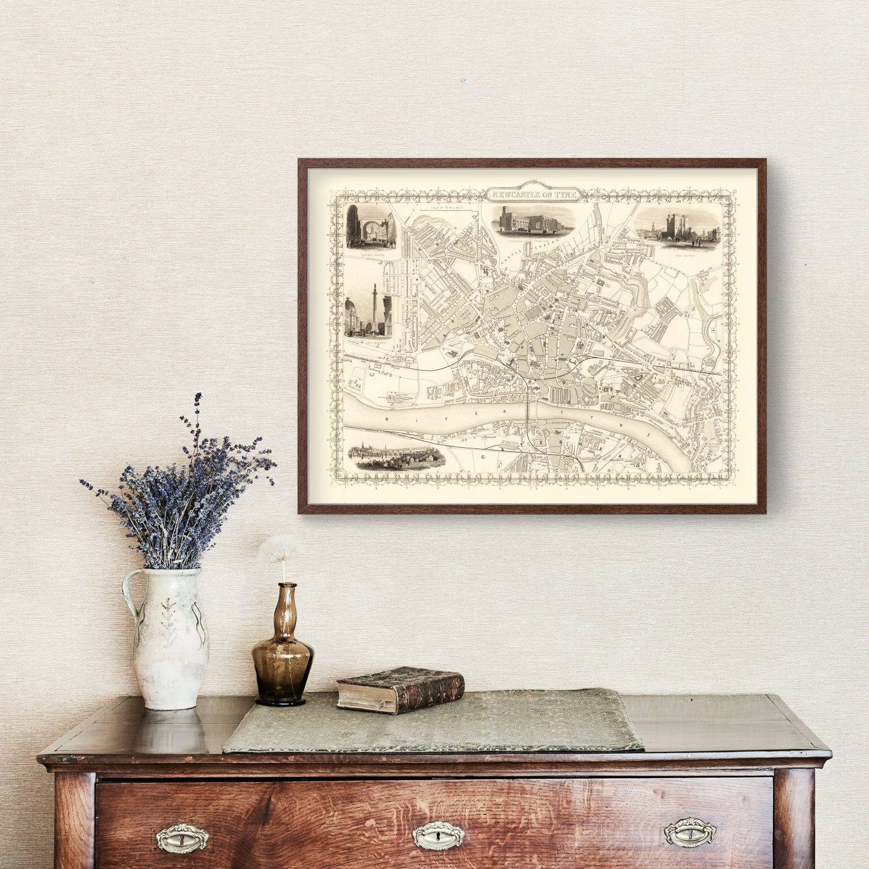 Vintage Map of Newcastle on Tyne, United Kingdom 1851