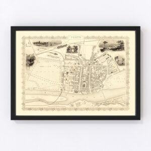 Vintage Map of Perth, Scotland 1851