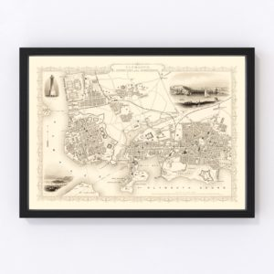 Vintage Map of Plymouth, United Kingdom 1851