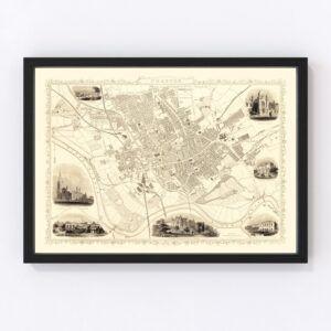 Vintage Map of Preston, United Kingdom 1851