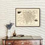 Vintage Map of Sheffield, United Kingdom 1851