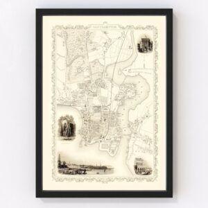 Vintage Map of Southampton, United Kingdom 1851