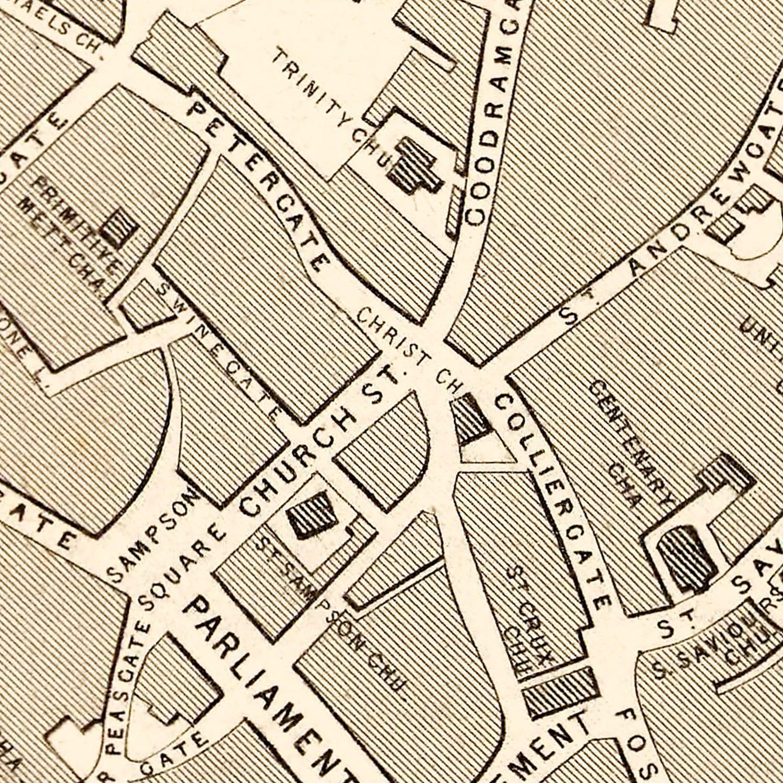 Vintage Map of York, United Kingdom 1851