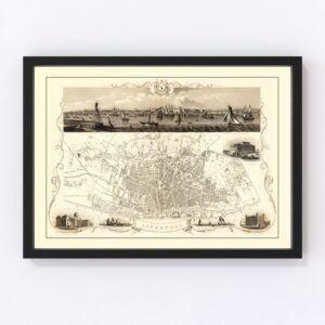 Vintage Map of Liverpool, United Kingdom 1851
