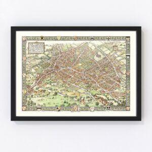Vintage Map of Birmingham, England 1923