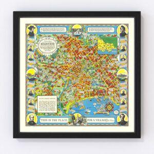 Vintage Map of Melbourne, Australia 1934