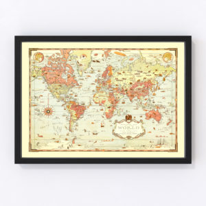 Vintage Mercator Map of the World 1931