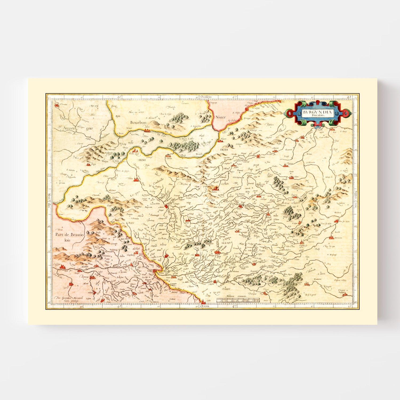 Vintage Map of Burgundy Region of France, 1623