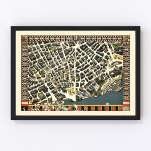 Vintage Map of London Theater District, England 1915